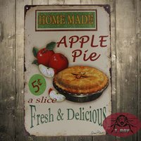 aluminum pie plates - Vintage Tin plate Signs Home made apple pie wall decor House Cafe Shop painting