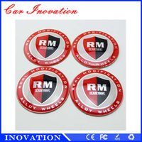 aluminum sticker labels - 65mm Luxury Real Modification Alloy Wheel Center Cap Stickers Steering Wheel Badge Metal Car Label Car Stickerfor RM