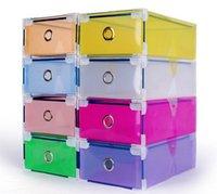Wholesale Colorful Transparent Clear Plastic PP Storage Box Packaging Boxes For Shoes Foldable Organizer Box Men Women