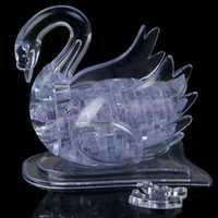 Wholesale D Crystal Puzzle Jigsaw Model DIY Swan IQ Toy Gift Souptoy Furnish Gadget