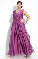 Cheap Plus Size Violet Bridesmaid Dresses 2016 Cheap V Neck Ruched Bodice with Waist Flowers Evening Dress