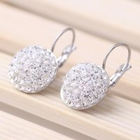 Wholesale 2016 Hot sale new arrival Rhinestone Stainless Steel Clip on Earrings Fashion Shiny Full Austrian rhinestone Crystal Earring