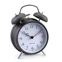 Cheap Modern Simple Small Ring Bell Clock Metal Table Desktop Alarm Clock Black