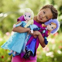 Wholesale 2014 New Genuine Frozen Elsa Anna Plush Doll cm Princess Doll Frozen Plush Toys in stock Brinquedos Kids Dolls for Girls