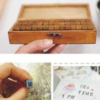 Wholesale Retro Wooden Rubber Case Alphabet Letters Number Stamps Set Presents A62