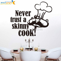 Wholesale never trust a skinny cook art quote wall decal zooyoo8210 home decoration kitchen room removable diy vinyl wall stickers