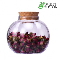 Wholesale High borosilicate glass bottle cork lid flower tea food storage container sealed cans storage tank glass jar Sugar Creamer Eleton ml