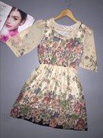 Wholesale 2016 summer autumn new Korean Women casual beach dress Bohemian floral printed chiffon dress with peplum ruched