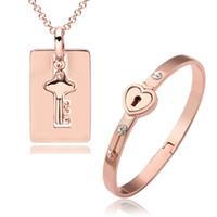 al por mayor clave valentín-La joyería plateada oro del día de tarjeta del día de San Valentín de la joyería de la manera 18K plateó la joyería del collar del brazalete de la llave fijada 3 colores
