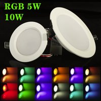 Wholesale 5W W RGB LED Ceiling Panel Light AC85 V Color Downlight Bulb Lamp with Remote Control