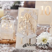 Wholesale Wedding Invitation Card European style Champagne Gold Wedding Invitations Custom Hollow out White Business Invitation Letter