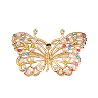 Wholesale Womens garments jewelry gold plated crystal rhinestone cute butterfly brooches and pins for wedding party brooch bouquet color