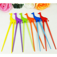 Wholesale 100pairs bear Beginner Cartoon Style Easy Fun Learning Helper Chopsticks Random Color