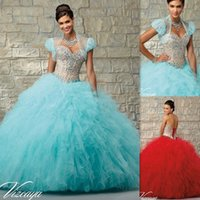 Wholesale Turquoise And Champagne Quinceanera Dresses Ball Gowns With Jacket Tulle Corset Sweetheart Neck Floor Length Girls Vestidos De Quince