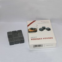 Wholesale FDA set Whiskey stone Whiskey Chilling Stones wine beer stone cubes Scotch Whiskey Glass Ice Rock Coolers velvet bag retail box