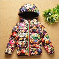 Wholesale Brand High Quality Jackets Baby Kids hooded prit Jacket Down Warm Windbreaker Print Children Kid Outerwear Coats Boy Girl H06