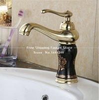 bathroom vanit - New Fashion Gold Brass and Marble body Bathroom basin Faucet Single Handle water tap bathroom vanit BF
