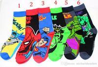Wholesale Children The Avengers socks new cartoon Batman spiderman The Hulk Superman children socks style B001