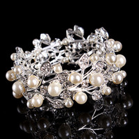 Wholesale Wedding Bridal Bangle Bracelet With Crystals Faux Pearls Party Banquet Jewelry Hand Chain Wristband jb200