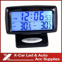 baby seat alarm - Car LCD Digital Thermometer Hygrometer Car Alarm Clock With Dual Sensors Show Indoor And Outdoor In Same Time blue backlight