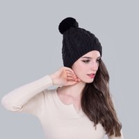 beanie with ear flaps - Women Winter Hat Solid Black Fur Hats Genuine Rabbit Hair Female Wind Proof Russian Hat Ear Flaps Female Knit Hat with Big Ball