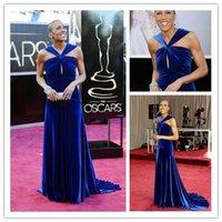 Wholesale Unique Dark Royal Blue V neck Celebrity Dresses Robin Roberts Academy Awards Red Carpet