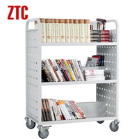 Wholesale Three shelves library W type book cart double sided mobile file trolley with wheels magazine storage rack