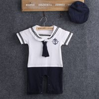 baby sailor costumes - 2016 pieces NEW Baby Boy Girl Sailor Costume Suit Grow Outfit Romper Pants Clothes HAT M
