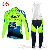 spandex clothing - 2014 Hot Sale Tinkoff Saxo Cycling Jersey Set Winter Thermal Cycling Clothes Fluo Yellow Green Bicycle Wear High Quality Bike Clothes