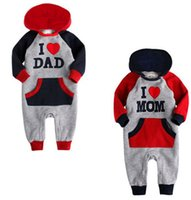 mam - 2015 Lovely I Love Mam Dad Baby Kids Girls Boys letter Jumpsuit Outfits Set One piece Hoodie