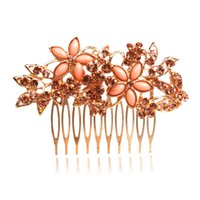Wedding Hair Jewelry best party hair - best selling wedding jewelry two corlor of flowers crown Rhinestone Bridal Hair Comb Clip women party prom event assurance in stock
