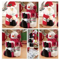 awesome christmas - Lovely Hold a Towel Hold the Bottle Santa Claus Snowman Originality Chirstmas Decoration Cloth Dolls Awesome Gift for Christmas party decora