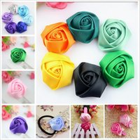 Wholesale 100pcs DIY quot Girls Satin Rolled Ribbon Beauty Rose Puff Flowers Fabric Rosettes Flower Women s Hair accessories Children Boutique Hair