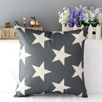 Wholesale Fashion England Style Star Decor Cotton Linen Throw Pillow Case Cushion Cover