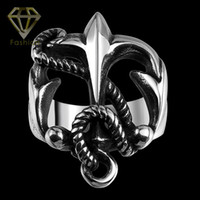 anchor costume jewelry - Punk Style Unique Hollow Out Cross Ring Unisex Costume Jewelry L Stainless Steel Crucifix Anchor Biker Rings