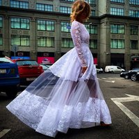 barbara green - Hollow Lace Long Sleeves Sheer Prom Dresses Puffy A Line Barbara Vestidos White Party Gowns Formal Gowns