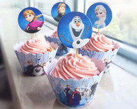 ECO Friendly bake birthday cakes - Christmas gift Frozen cupcake wrapper Party Decorations Elsa Anna Princess Kristoff Cup Cake Toppers Picks Kids Birthday Supplie