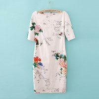 Wholesale New hot Simple elegance Chinese national costume Western style Printed dress cheongsam sizes can be selected