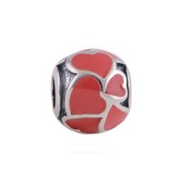red heart charm - Red Ball Beads Enamel Heart Charm Hot Sale Made Of Silver Charms Beads Fit Diy Fashion Necklace LW041