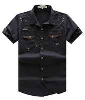 Wholesale Men s Casual Solid Short Sleeve Cargo Shirts Outdoor Military Hiking Tops with Washing Cotton