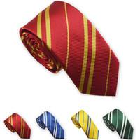 Wholesale 2015 New Women Men Tie European American Harry Potter Style Narrow Neck Tie For Boy Girl School College Stripe Neckties For Men