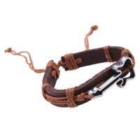 Wholesale Antique Genuine Leather Bracelets Hollow Guitar Charm Bracelet for Men Bracelets Bangles Jewelry