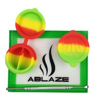 Wholesale ABLAZE Rasta Silicone Concentrate Oil BHO Wax Butane Honey Shatter Proof Errl Container Pad Mat Jar Tool Slick Sticky Nonstick Dab
