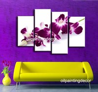white flower oil - Handmade Purple Flower Modern Oil Painting White And Plum Piece Canvas Art Wall Hanging Living Room Decoration Pictures Set