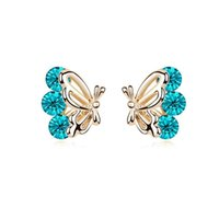 Wholesale Austrian crystal earrings feather butterfly