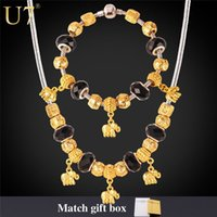 gold pan - Crystal Bead Necklace Set New K Gold Plated Elephant Pendant Necklace Bracelet PAN Jewelry Set Bohemia Jewelry S629