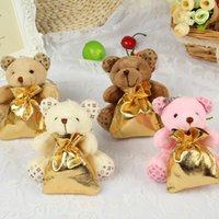 Wholesale Creative Little Bear With Backpack Wedding Candy Bags For Baby Shown Wedding Decorations Party Favors Supplies Colors In Stock