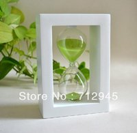 Wholesale Romantic Sandglass Hourglass White Frame Green Sand Glass Sand Minutes Sand