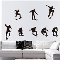 Wholesale Black Large Skateboarding Man Self Adhesive Vinyl Removable Decal for Bedroom Living Room Home Decor Art PVC Wall Stickers Mural Decoration