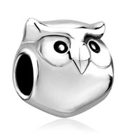 Wholesale Cute Lucky Owl Animal Bead In Rhodium Silver Color Plating European Charm Fit Pandora OEM Bracelet